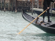 The oar of the gondola
