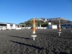 Black sand and volcano