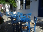 Brightly painted chairs