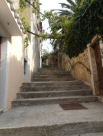 Steps up from town