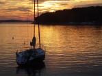 Orange sunset boat